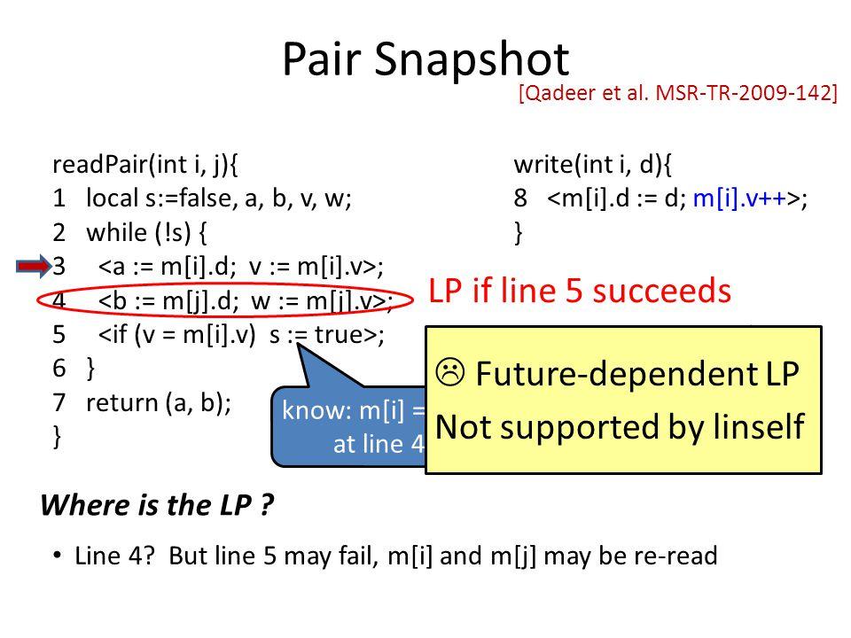 know: m[i] = (a,v) at line 4